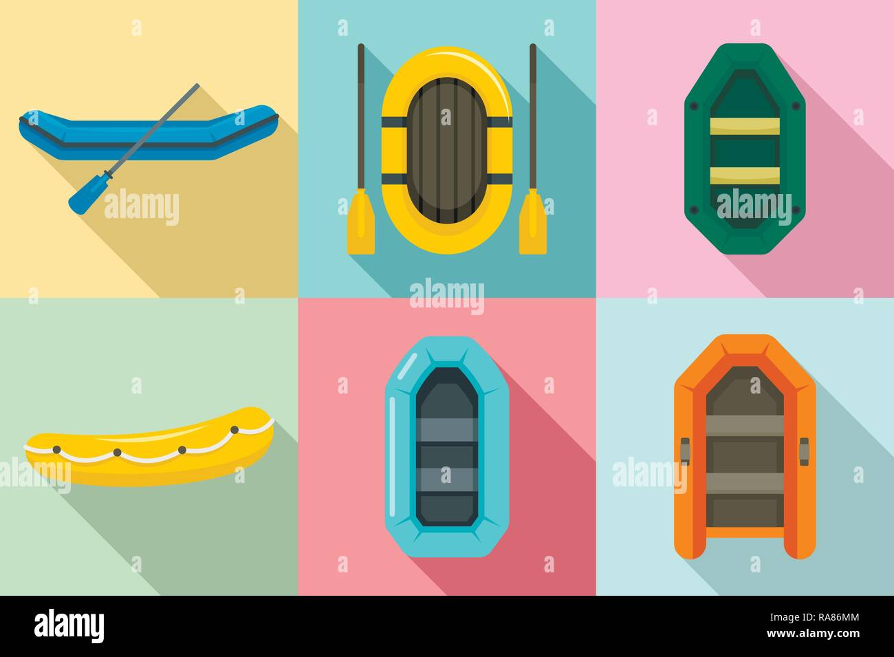 Inflatable boat icon set. Flat set of inflatable boat vector icons for web design - Stock Image