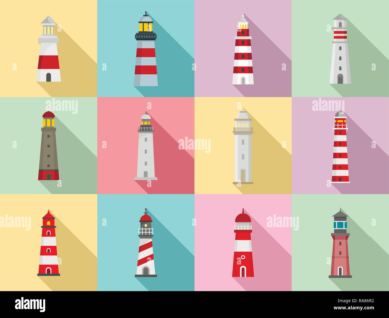 Lighthouse icon set. Flat set of lighthouse vector icons for web design - Stock Vector
