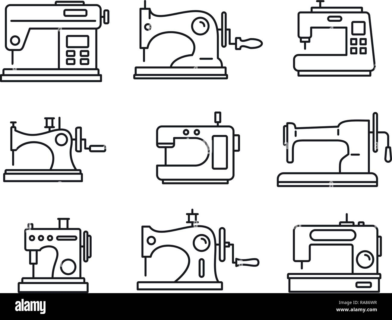 Fabric sew machine icon set. Outline set of fabric sew machine vector icons for web design isolated on white background Stock Vector