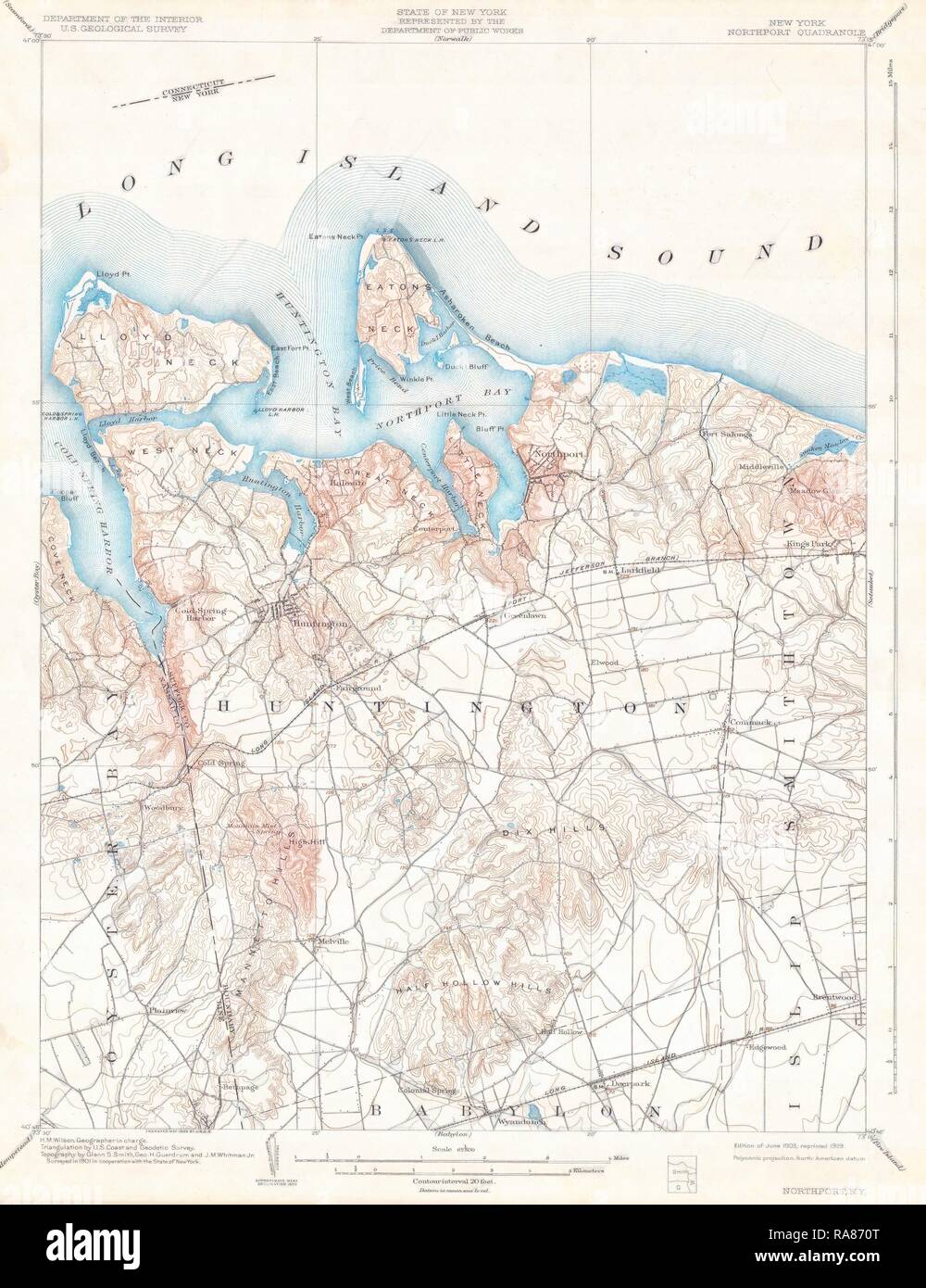 Huntington New York Map.1900 U S G S Map Of Huntington And Northport Long Island New