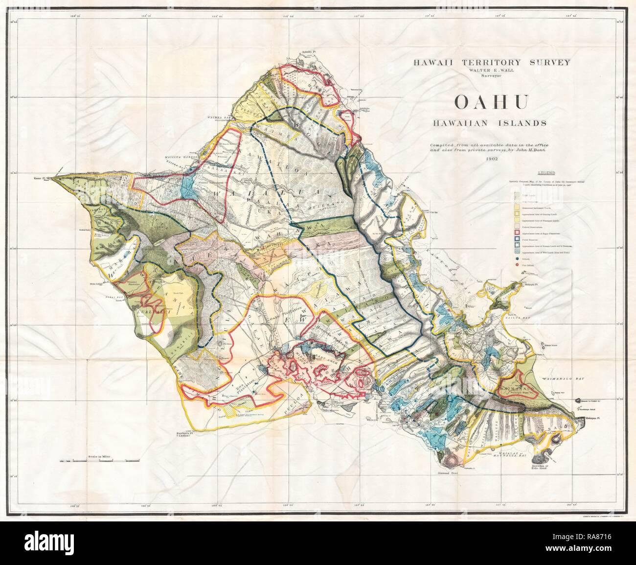 1902, Land Office Map of the Island of Oahu, Hawaii, Honolulu ... on