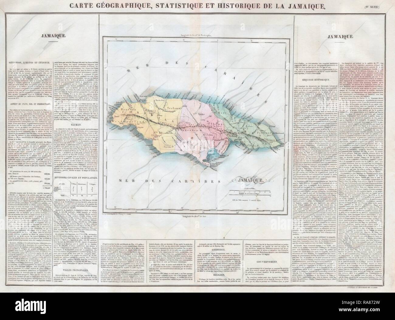 Carez Map of Jamaica, West Indies. Reimagined by Gibon. Classic art ...