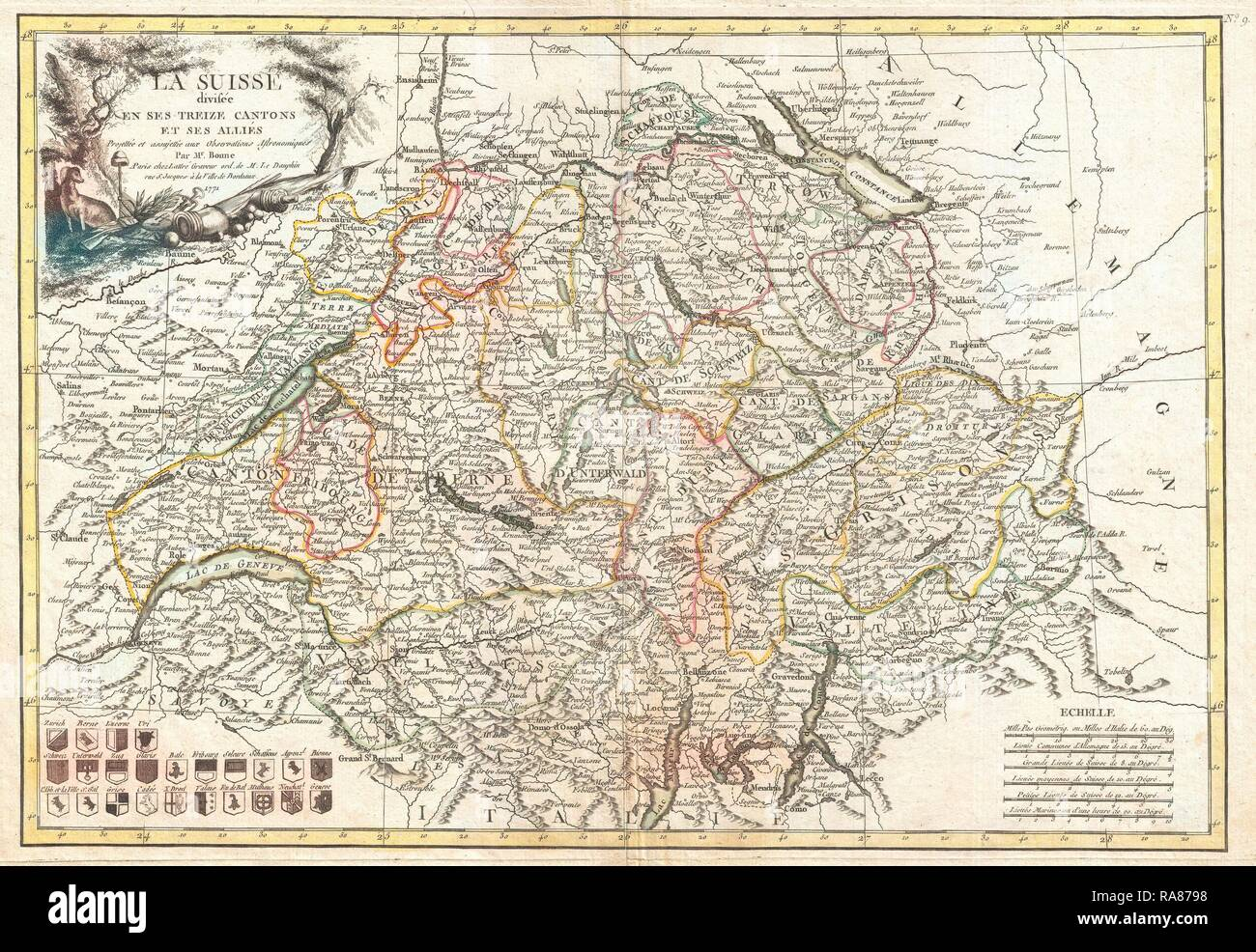 1771, Bonne Map of Switzerland, Rigobert Bonne 1727 – 1794, one of the most important cartographers of the late 18th reimagined - Stock Image