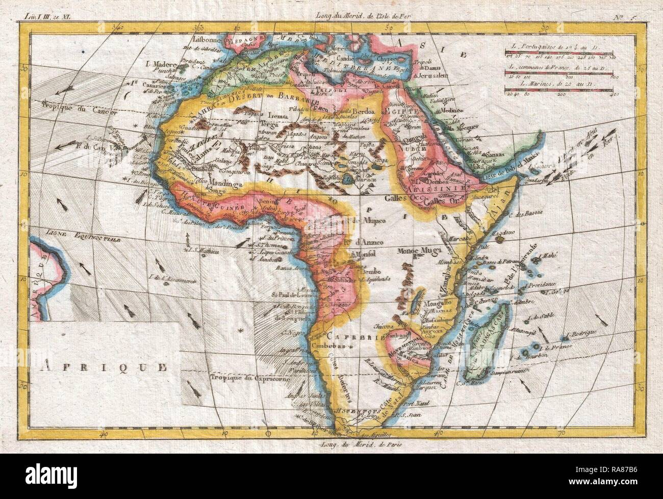 1780, Raynal and Bonne Map of Africa, Rigobert Bonne 1727 – 1794, one of the most important cartographers of the late reimagined - Stock Image