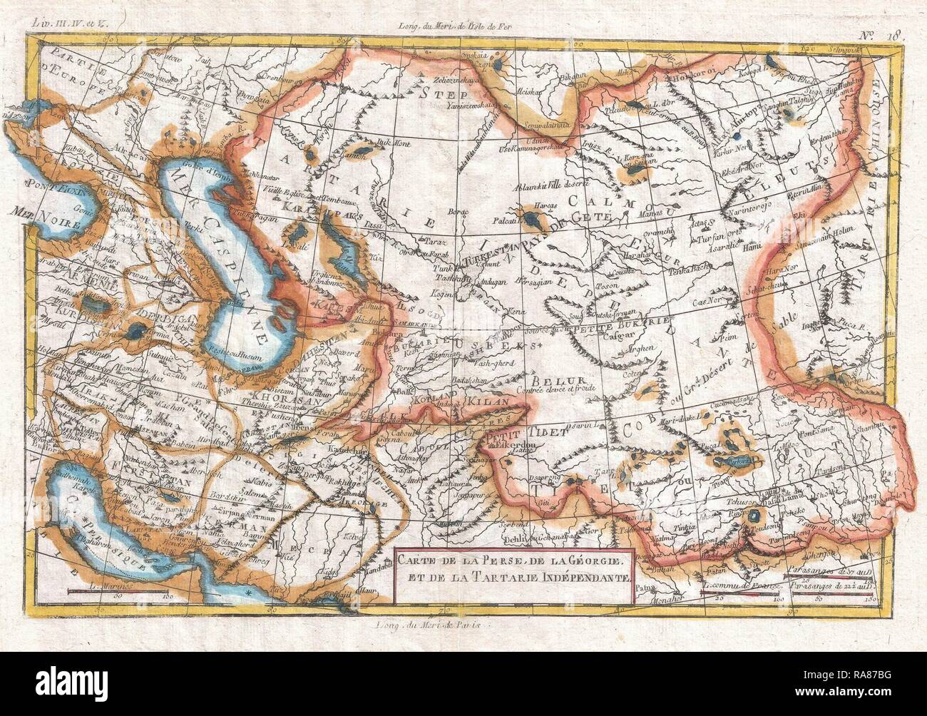 1780, Raynal and Bonne Map of Central Asia, Rigobert Bonne 1727 – 1794, one of the most important cartographers of reimagined - Stock Image