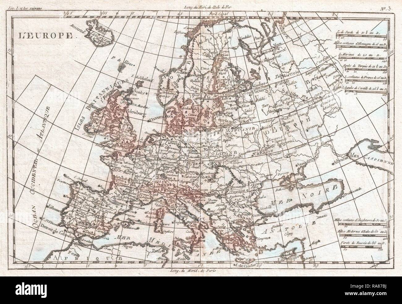 1780, Raynal and Bonne Map of Europe, Rigobert Bonne 1727 – 1794, one of the most important cartographers of the late reimagined - Stock Image