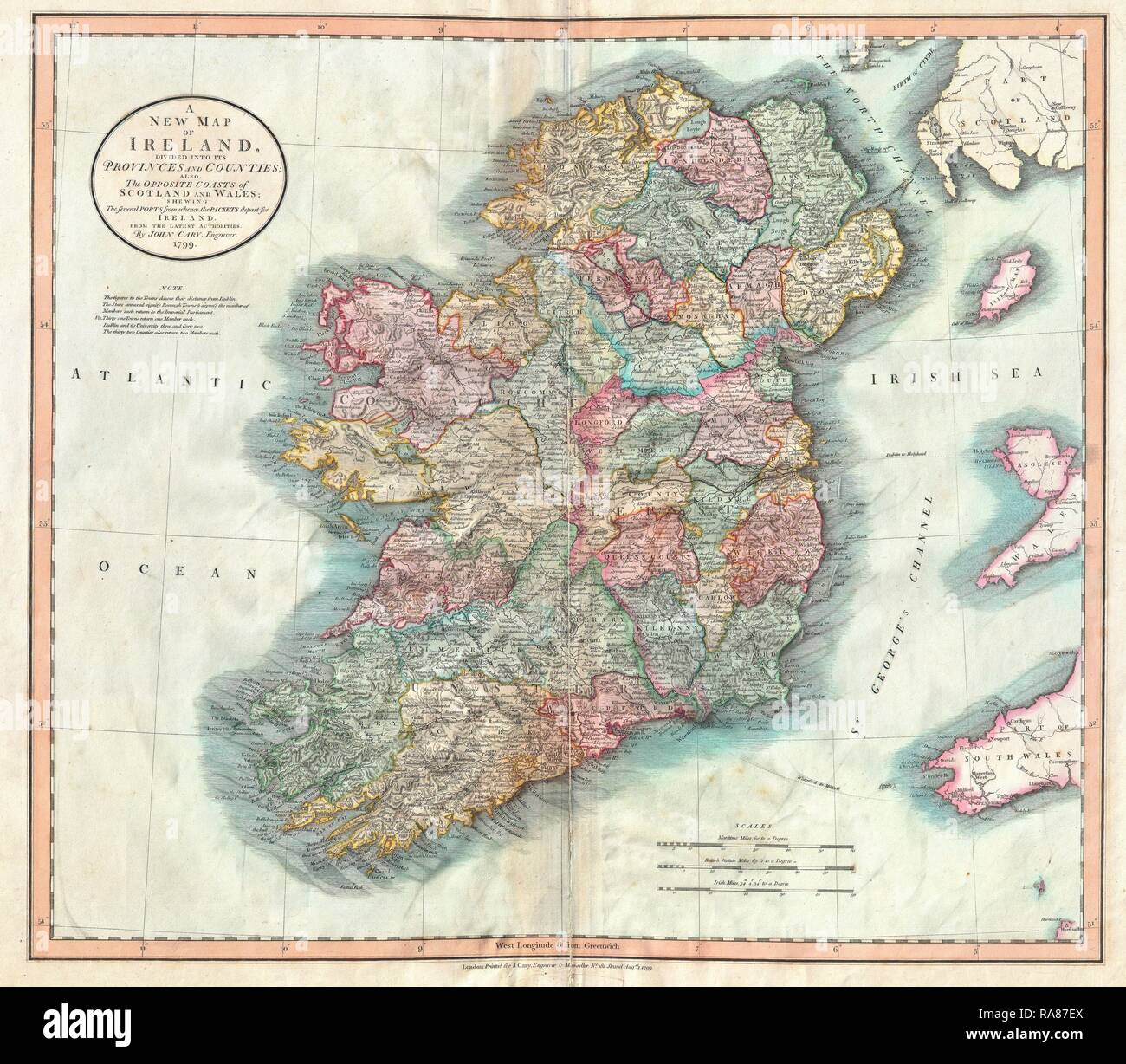 Map Of Ireland 32.1799 Cary Map Of Ireland John Cary 1754 1835 Was An English