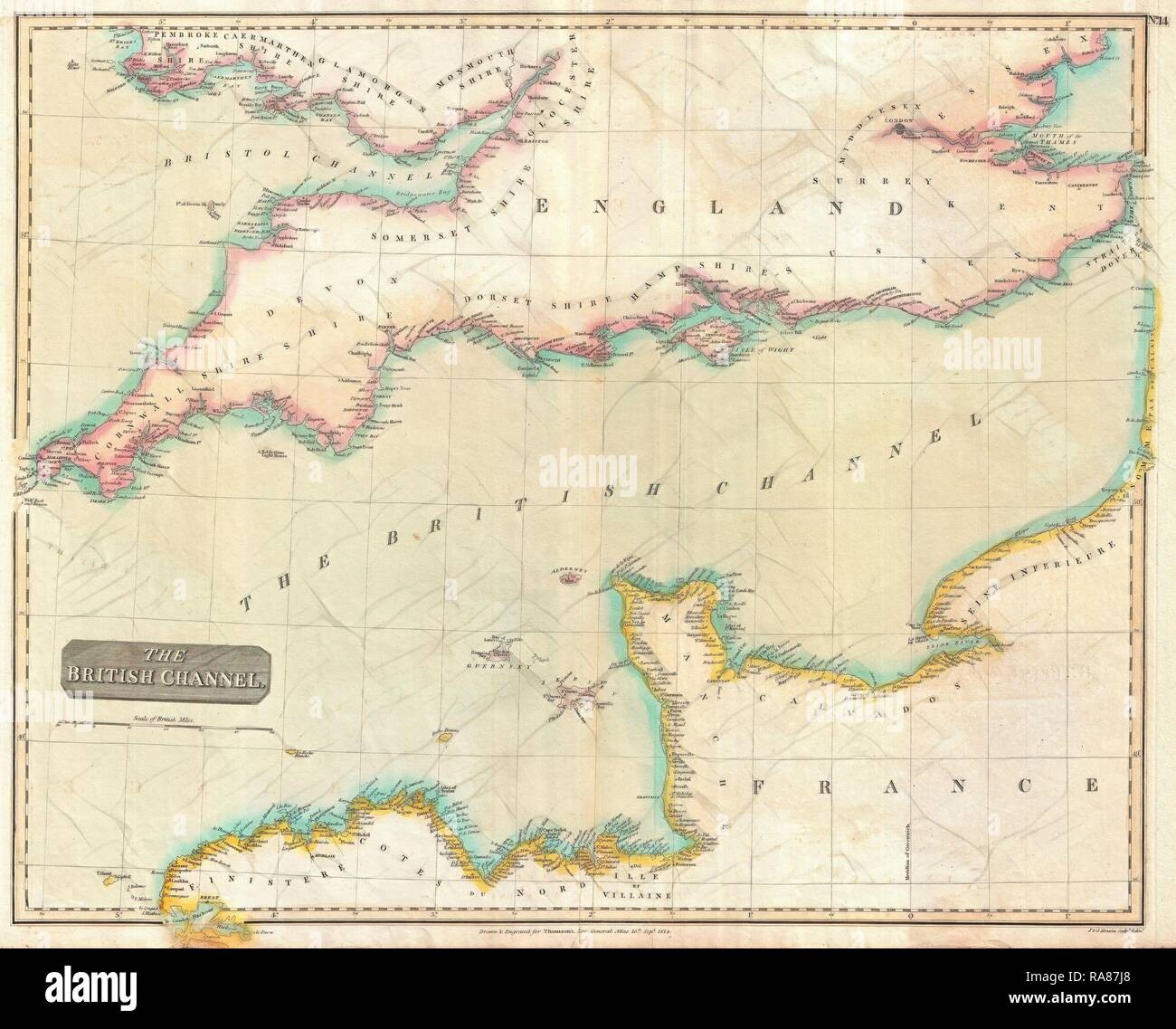 English Channel Map Stock Photos & English Channel Map Stock