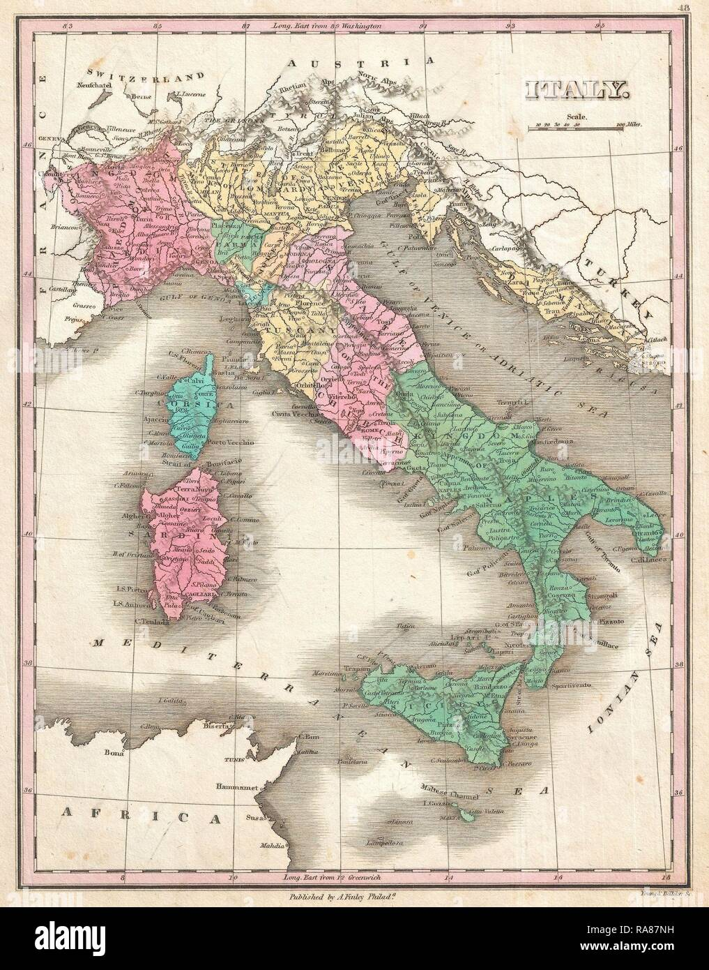 1827, Finley Map of Italy, Anthony Finley mapmaker of the United States in the 19th century. Reimagined - Stock Image