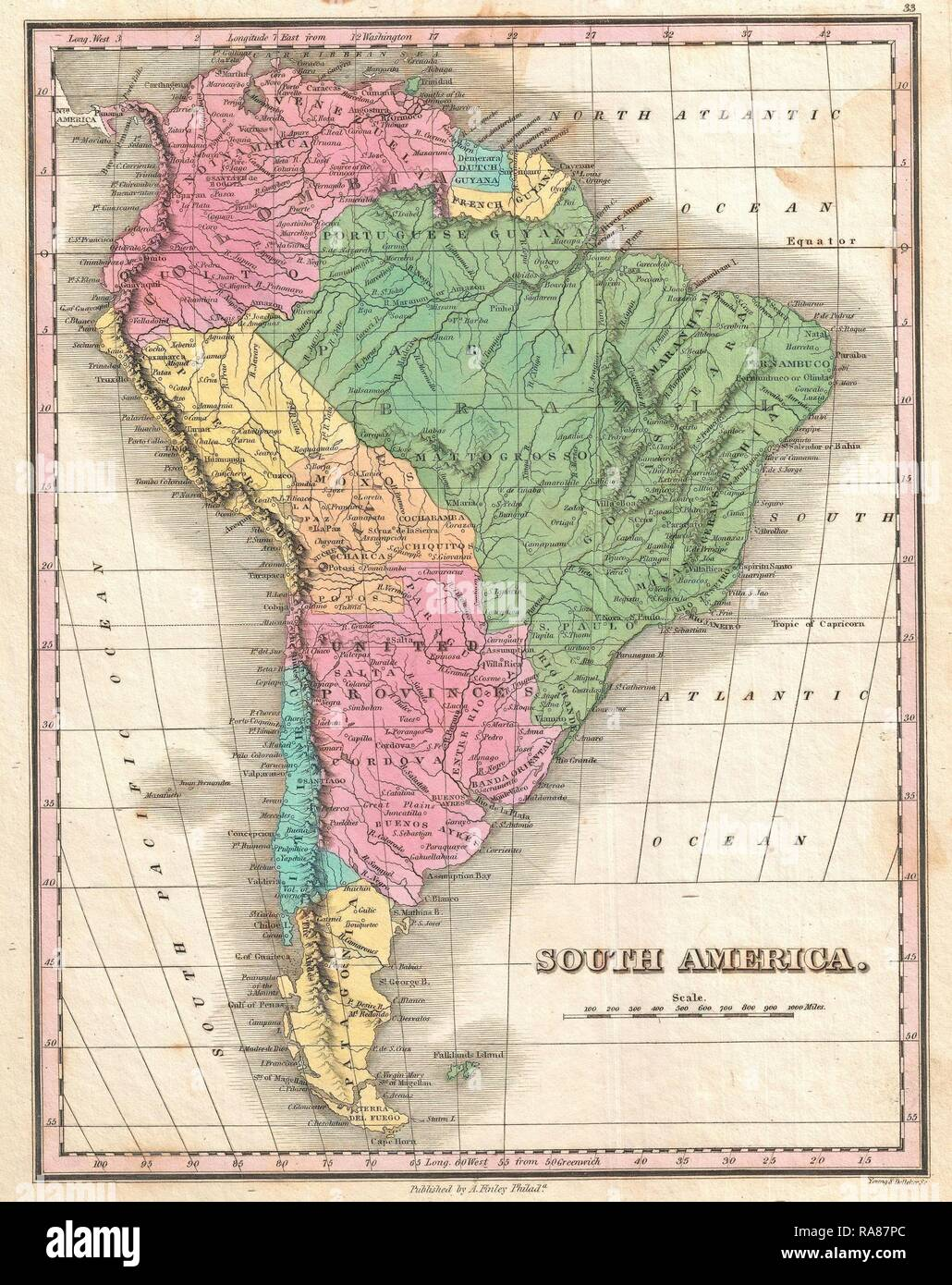 1827, Finley Map of South America, Anthony Finley mapmaker ...