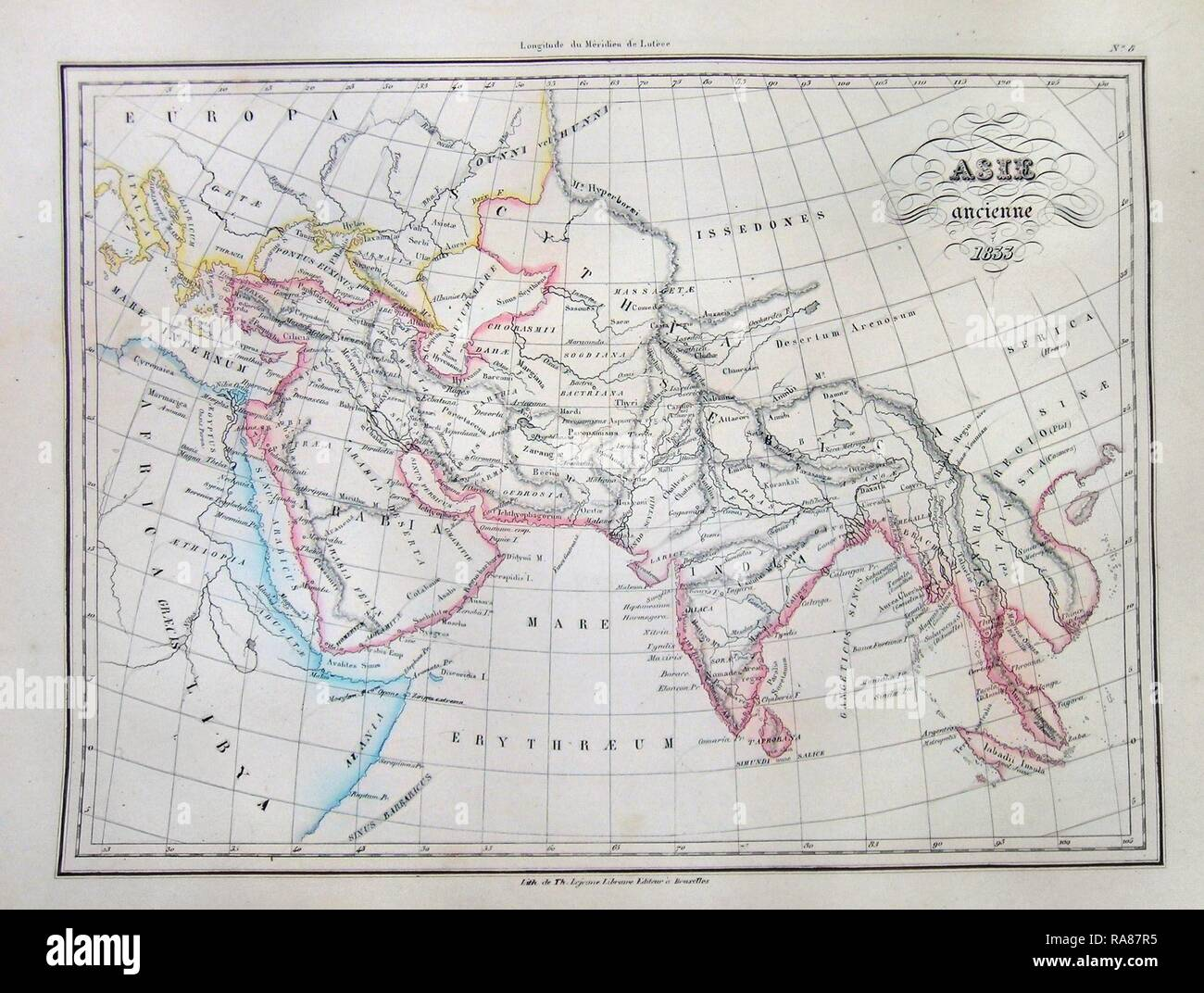 1833, Malte-Brun Map of Asia in Ancient Times. Reimagined by Gibon. Classic art with a modern twist reimagined - Stock Image