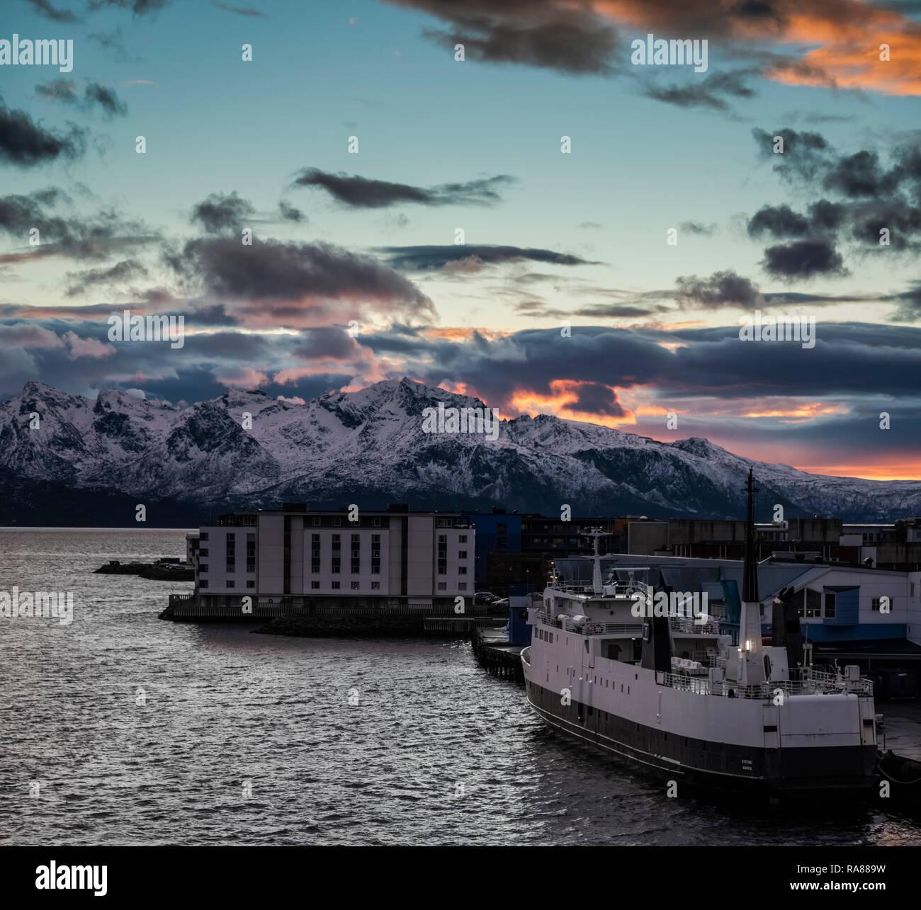 Sunset over Sortland, Lofoten Islands, Norway. Stock Photo