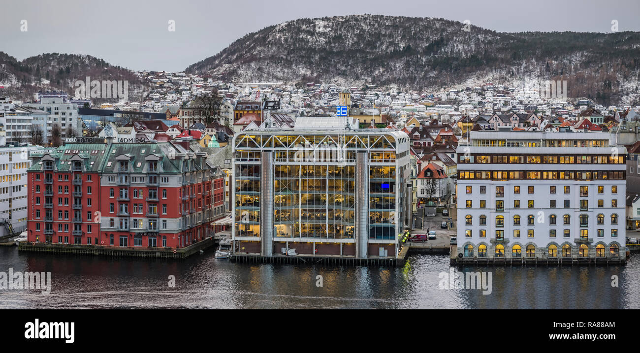 Bergen city centre offices and Clarion Admiral hotel, Norway. - Stock Image