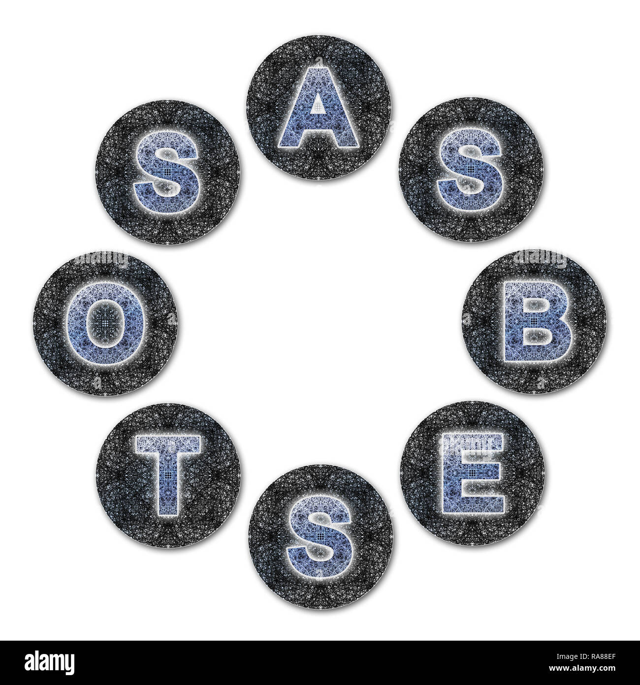 The word asbestos written with letters whose graphic resembles the shape of the asbestos particles.  The circular shape of the composition allows you  Stock Photo