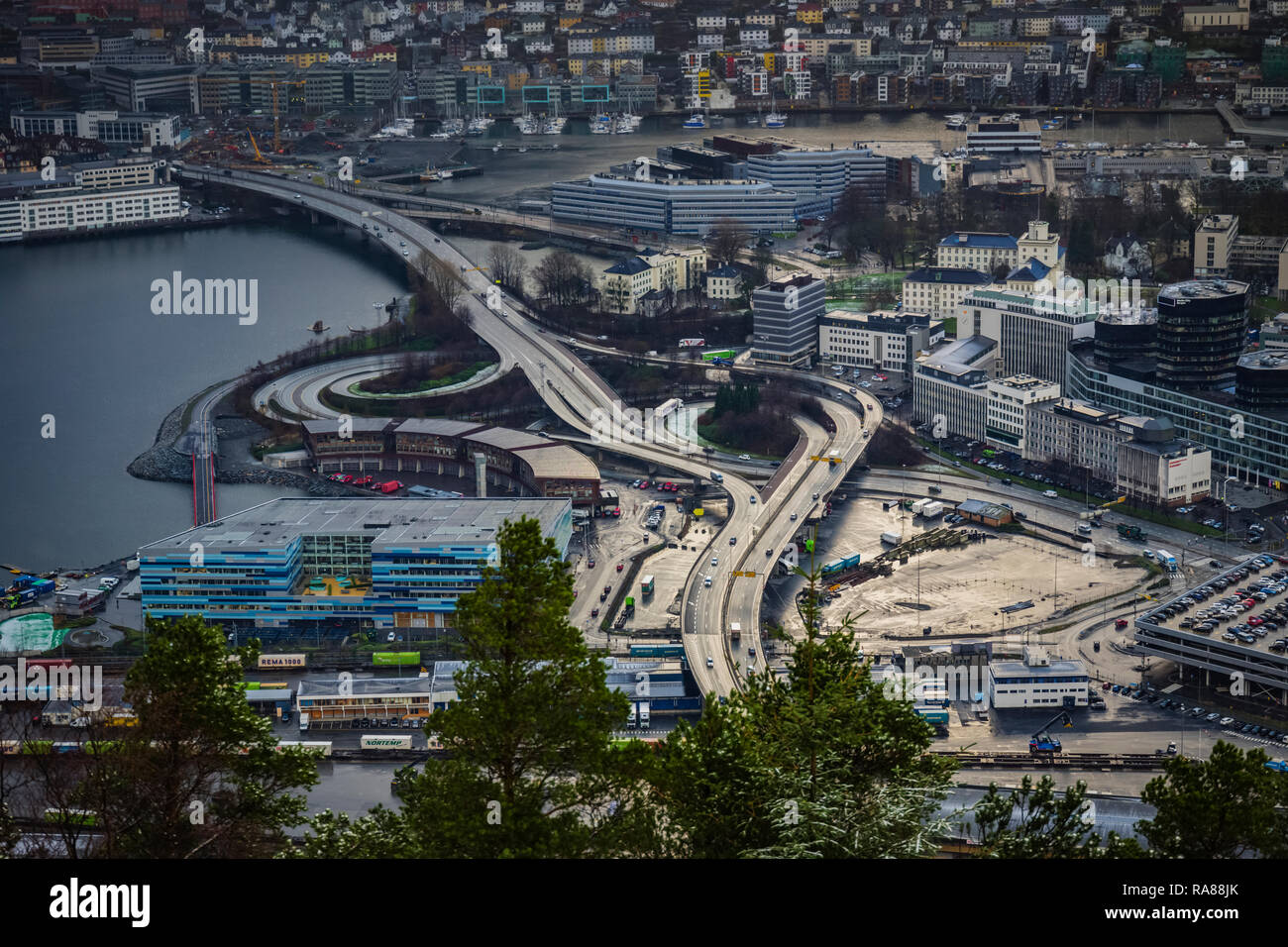 Aerial image of Bergen road infrastructure Norway. Stock Photo