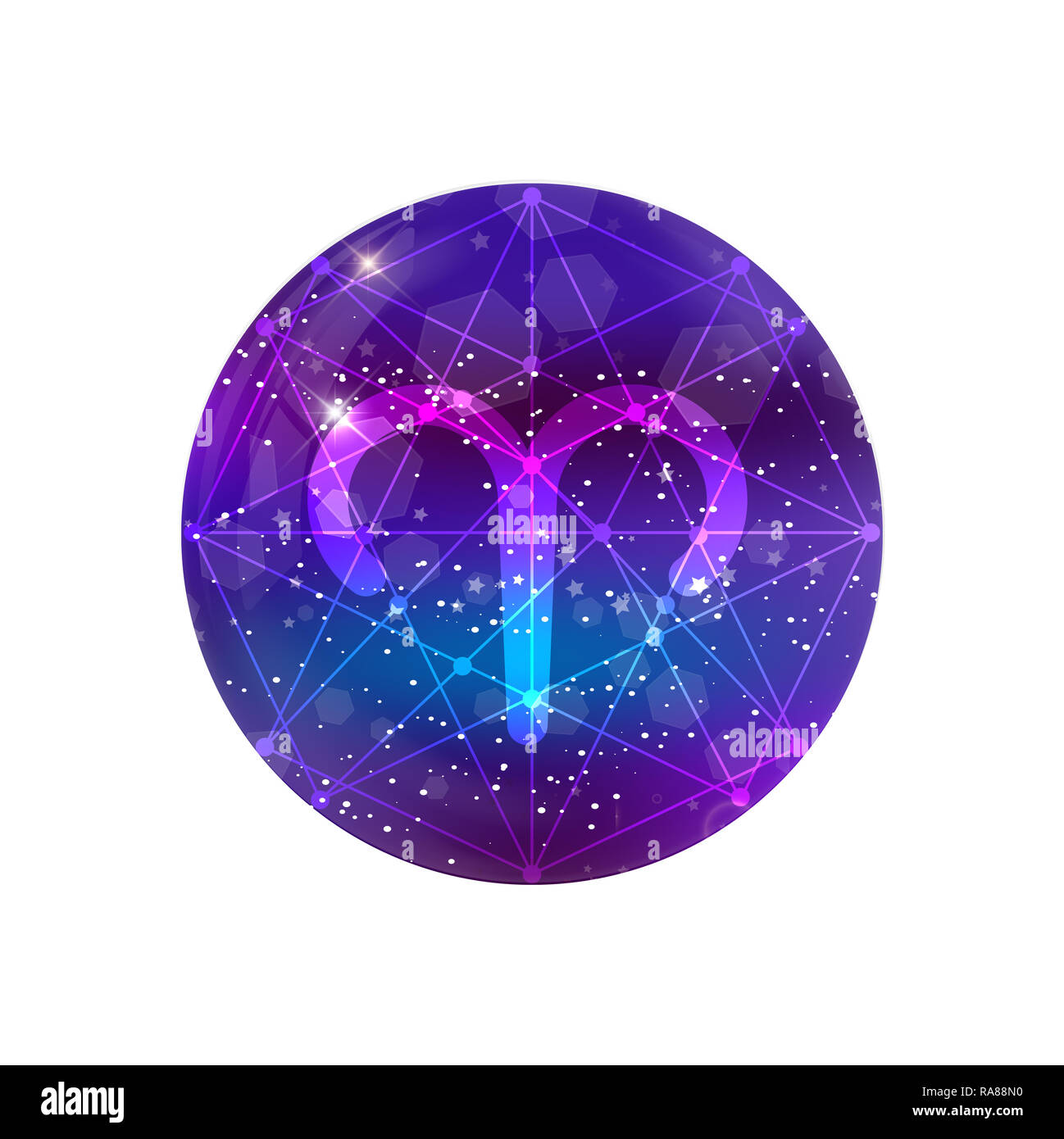 Aries Zodiac Sign And Constellation On A Cosmic Purple Sky With Glowing Stars And Nebula Isolated On White Background Neon Ram Icon Web Button Clip Stock Photo Alamy