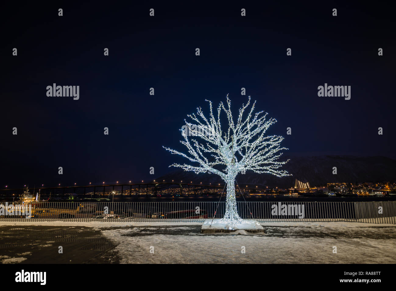 Festive Illuminated tree, Tromso, Norway. Stock Photo