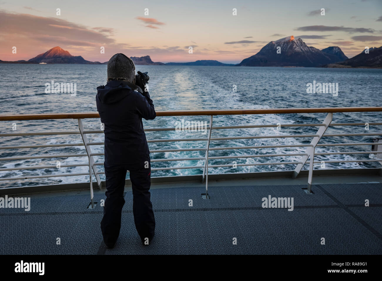 On board the Hurtigruten coastal steamer, Norway. Stock Photo