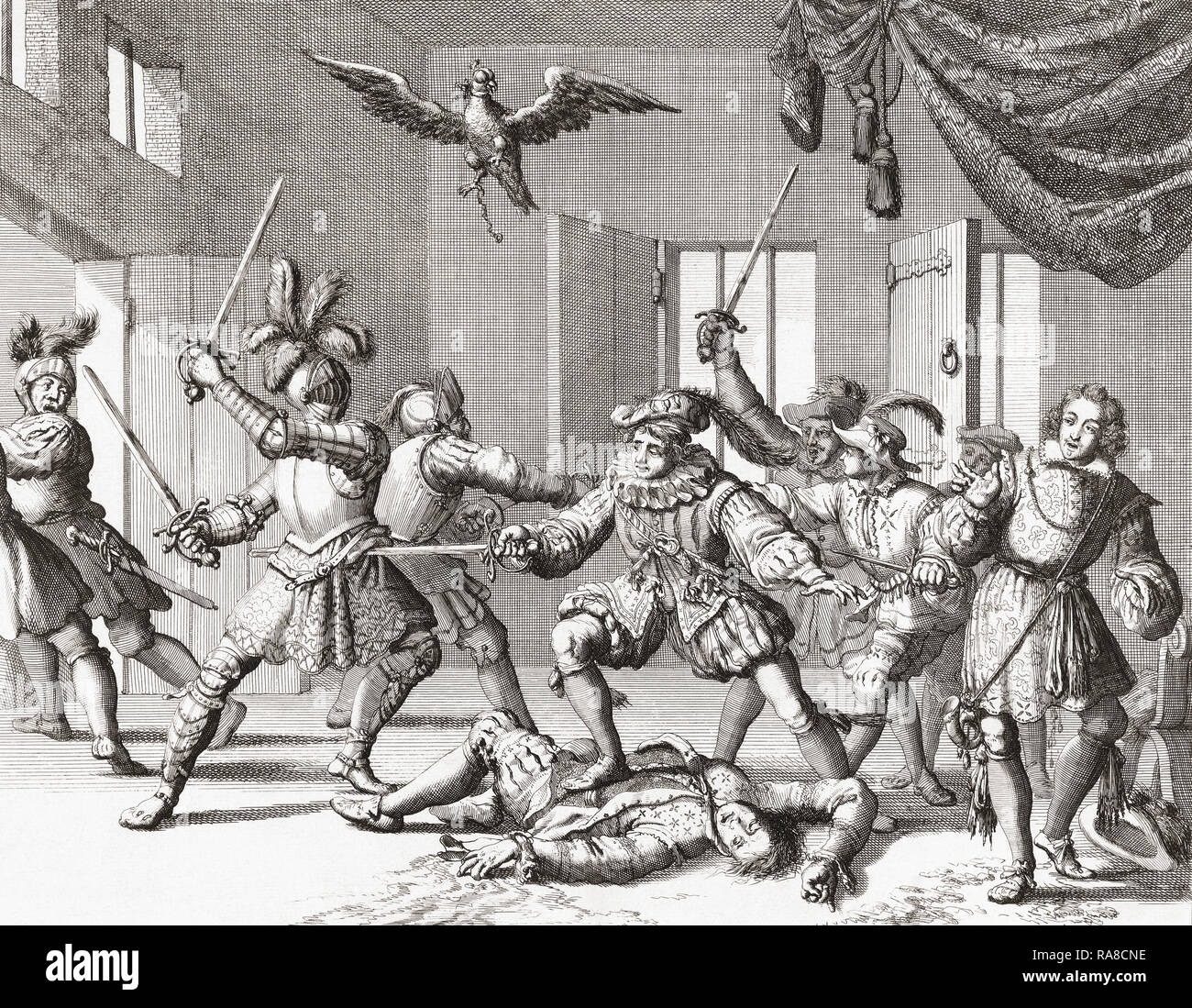 John and Alexander Ruthven, attempting to kidnap or kill James VI of Scotland, are seen here fighting for their lives against the King's attendants after being caught in the act.  They were killed.  The incident, which happened in August 1600 at Gowrie House, Perth, Scotland,  became known as the Gowrie Conspiracy.  After an engraving by Jan Luyken. - Stock Image