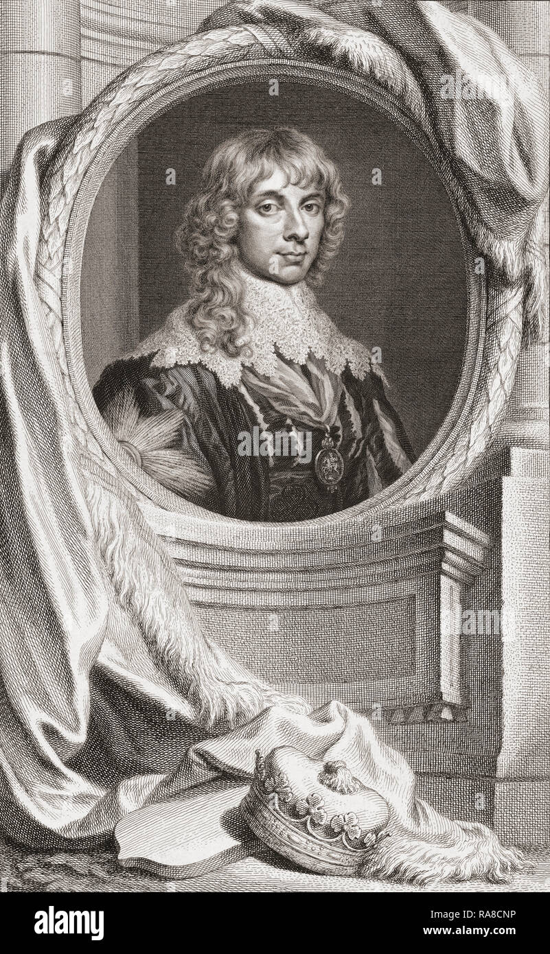 James Stewart, 1st Duke of Richmond, 4th Duke of Lennox, 1612 – 1655.  British nobleman.   From the book The Heads of Illustrious Persons of Great Britain, Engraved by Houbraken and Mr. Vertue.  With Their Lives and Characters. The book was compiled and written by Thomas Birch, 1705-1766 .  From an edition dated 1813. - Stock Image
