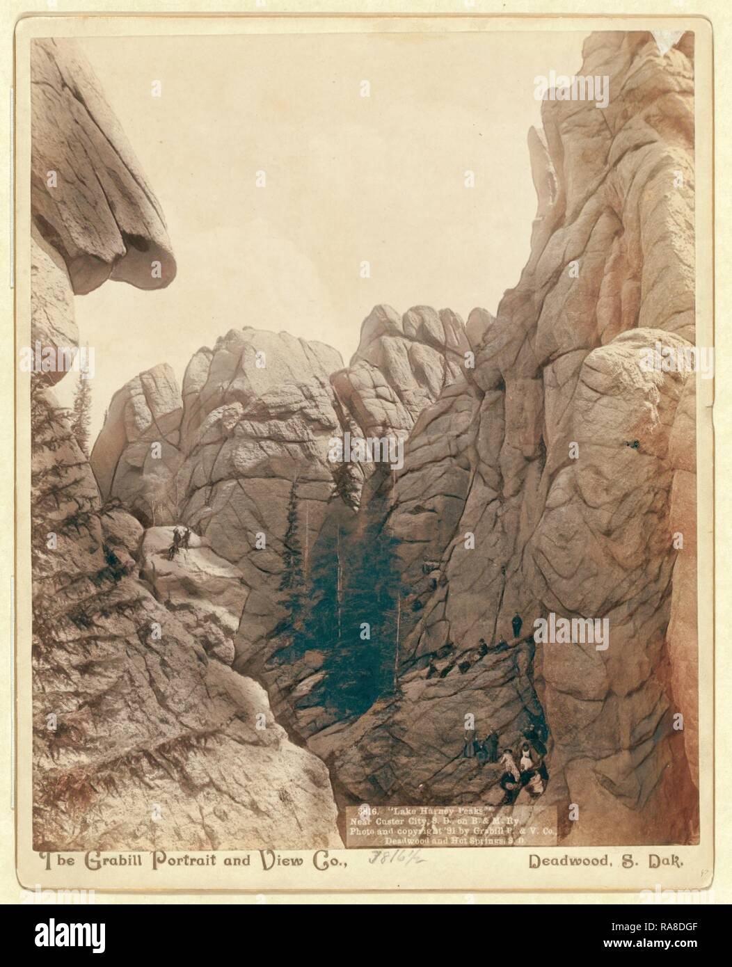 Lake Harney Peaks, Near Custer City, S.D., on B. & M. Ry. Reimagined by Gibon. Classic art with a modern twist reimagined - Stock Image
