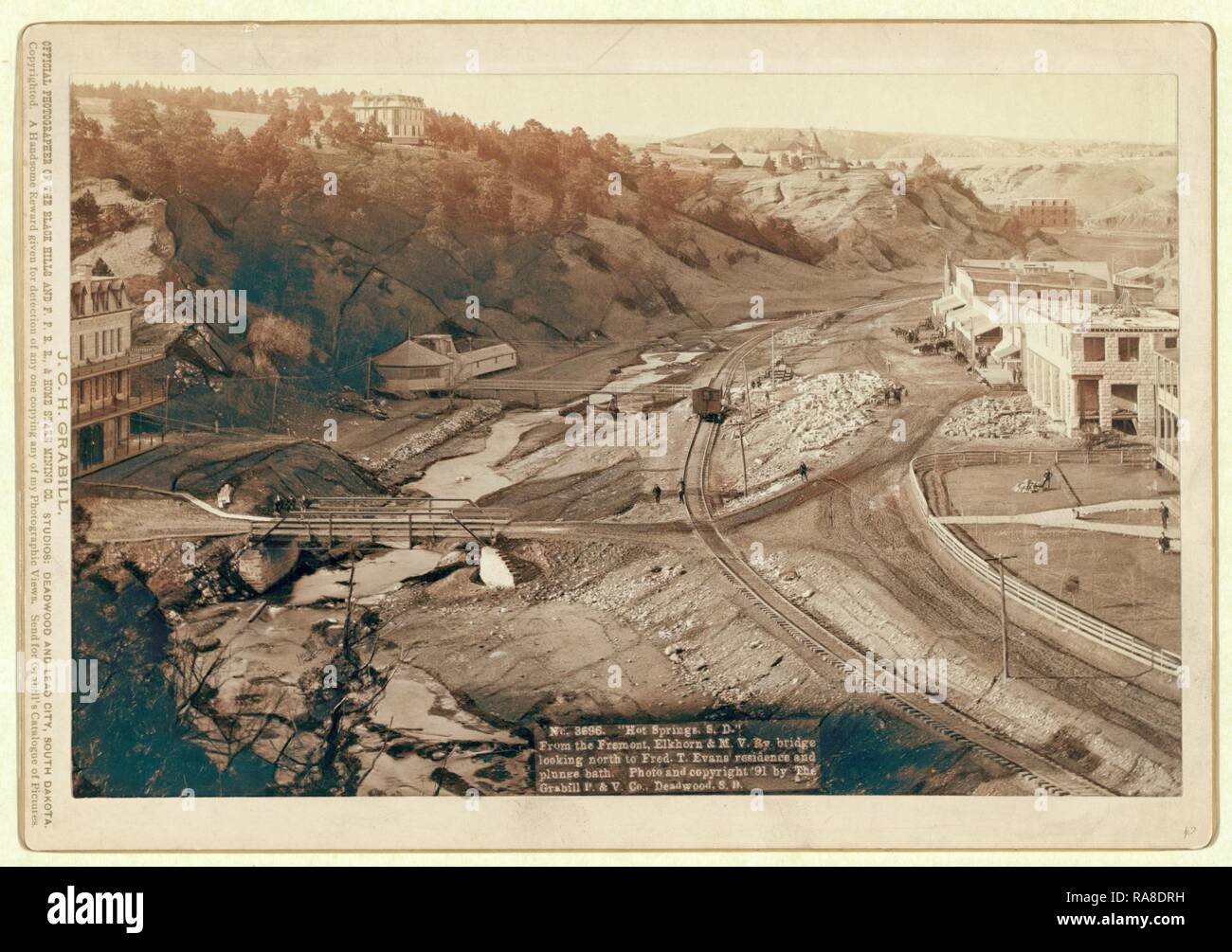 Hot Springs, S.D. From the Fremont, Elkhorn and M.V. Ry. Bridge Looking North to Fred T. Evans Residence and Plunge reimagined - Stock Image