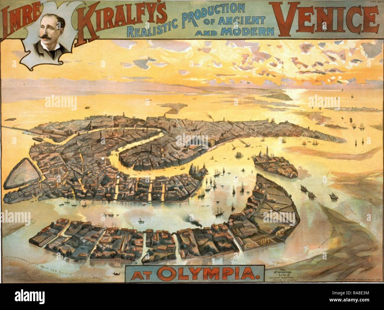 Imre Kiralfy's Realistic Production of Ancient and Modern Venice at Olympia, Bird's-Eye View, Circa 1891, Italy, UK reimagined - Stock Image