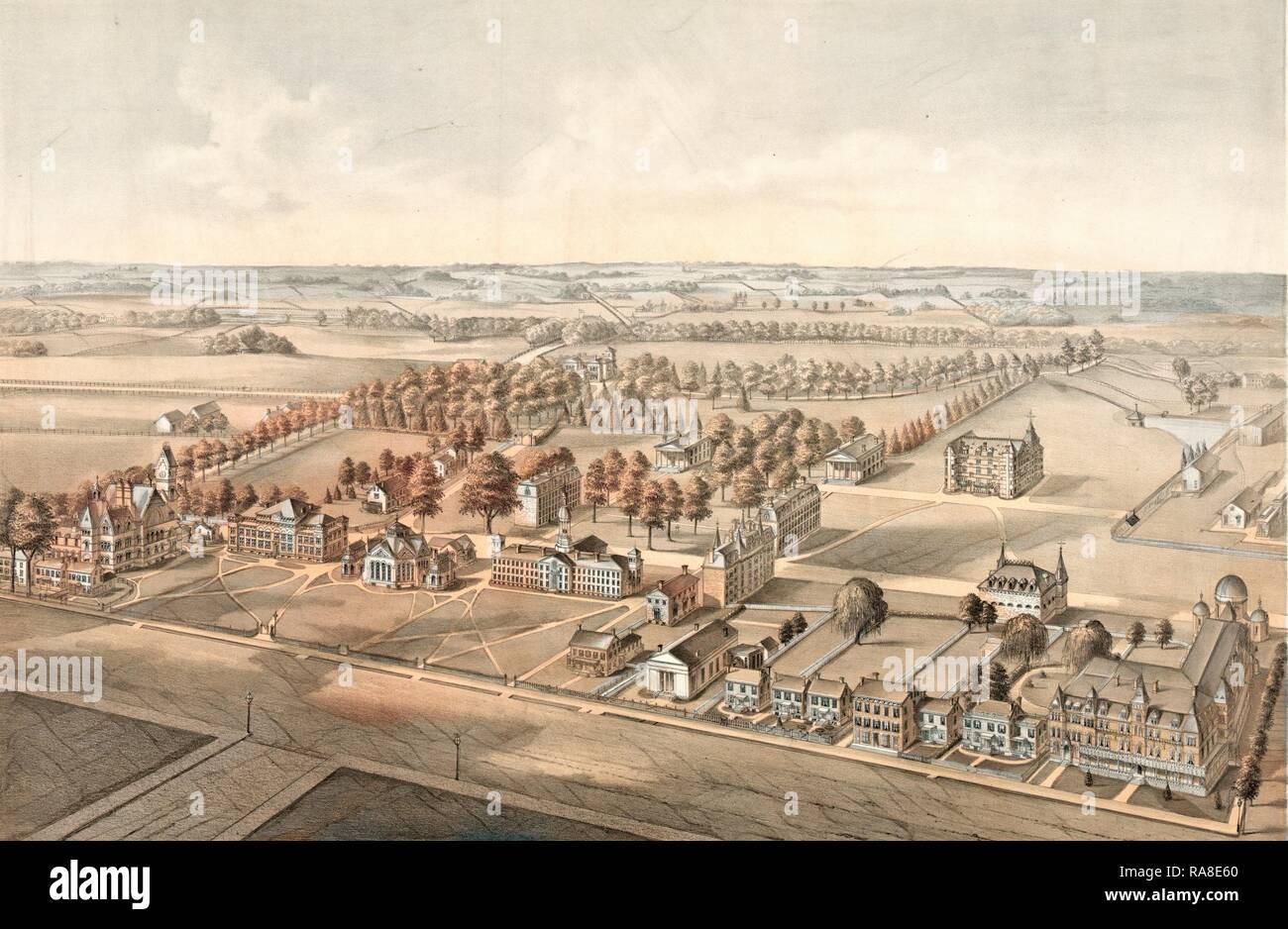 Princeton College, Princeton, N.J. Designed by W.M. Radcliff, Lith., Circa 1875, US, USA, America. Reimagined - Stock Image