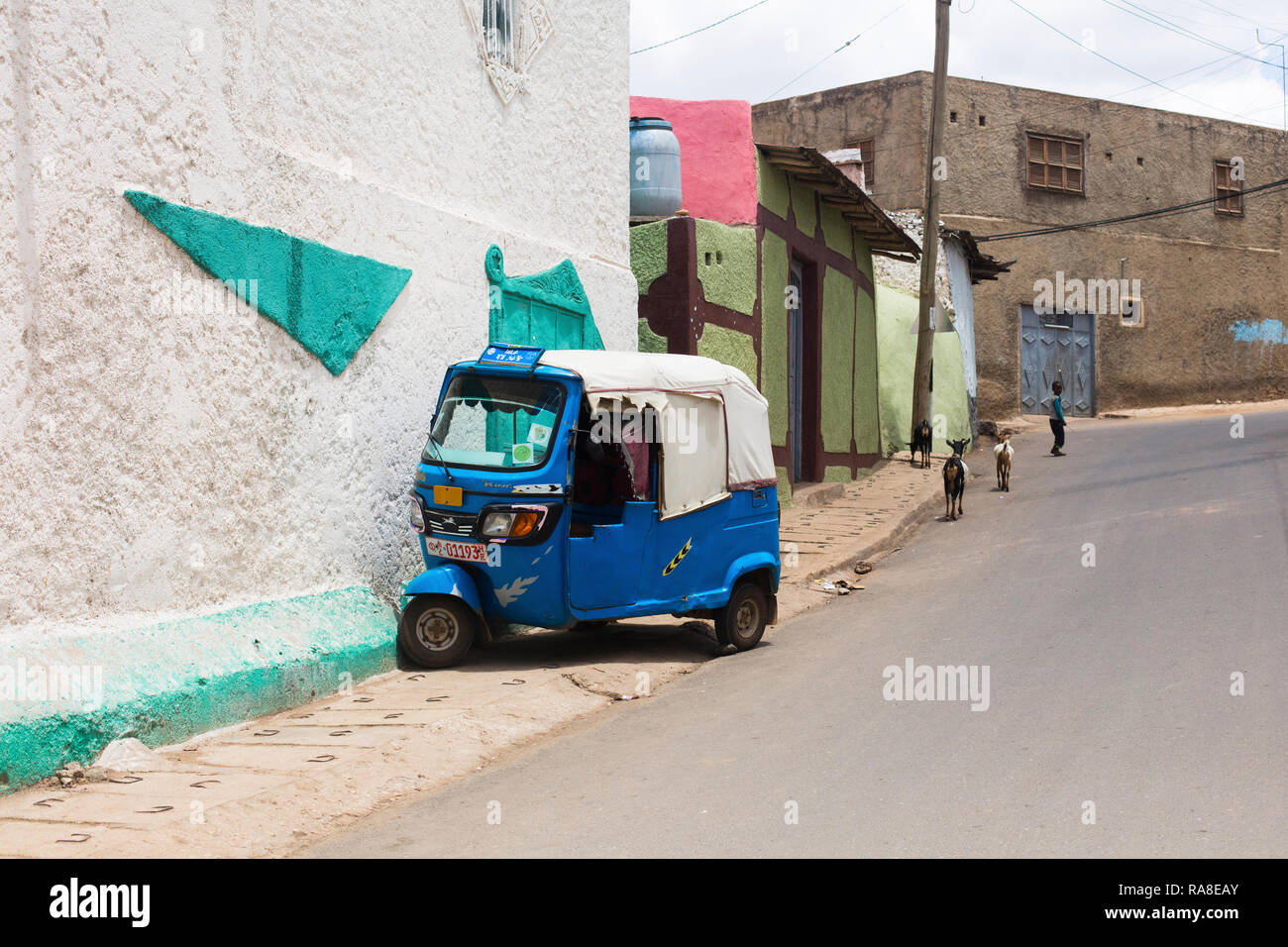 Harar / Ethiopia - May 04 2017: A riksha being parked in a street of Harar, Ethiopia. Stock Photo
