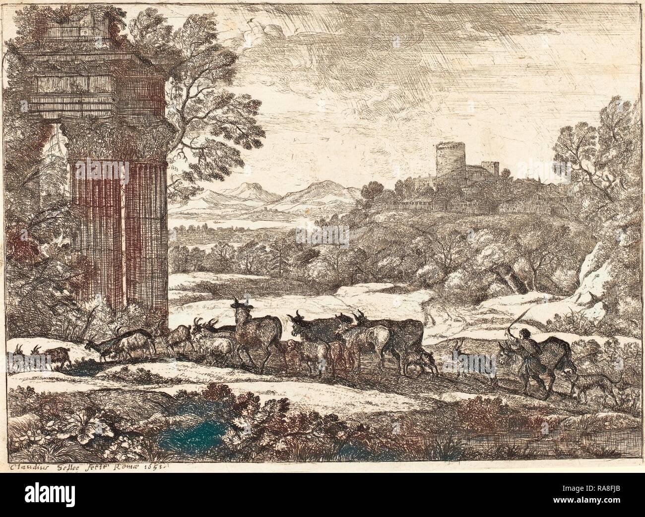 Claude Lorrain (French, 1604-1605 - 1682), The Herd Returning in Stormy Weather (Le troupeau en marche par un temps reimagined - Stock Image