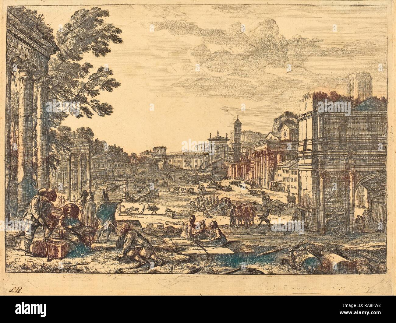 Claude Lorrain (French, 1604-1605 - 1682), The Roman Forum (Le Campo Vaccino), 1636, etching. Reimagined - Stock Image