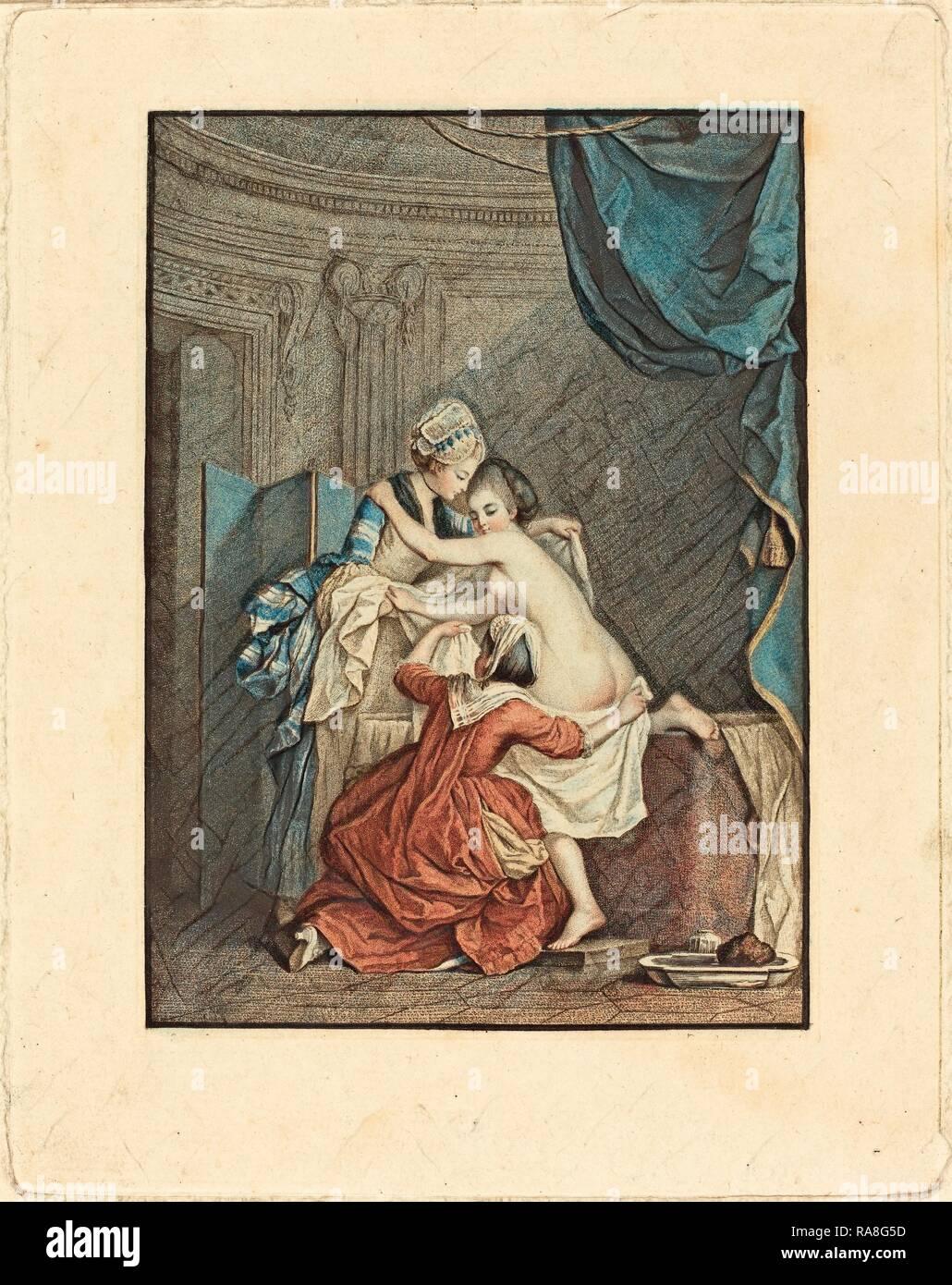 Nicolas Francois Regnault after Pierre-Antoine Baudouin (French, 1746 - c. 1810), Le bain (The Bath), color stipple reimagined Stock Photo