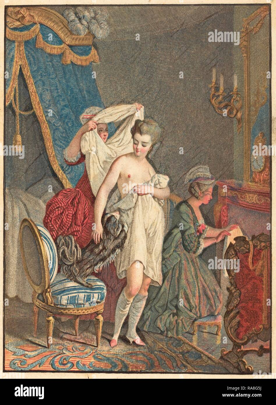 Nicolas Francois Regnault (French, 1746 - c. 1810), Le Lever, color stipple etching and etching. Reimagined Stock Photo