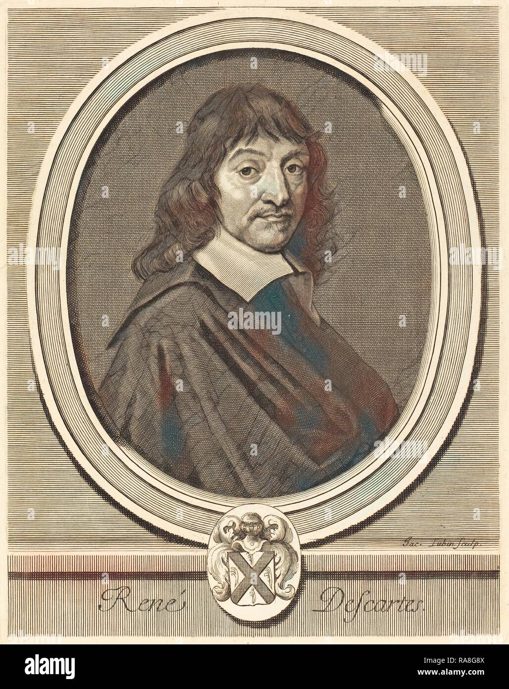 Jacques Lubin (French, c. 1659 - 1703 or after), René Descartes, engraving on laid paper. Reimagined - Stock Image