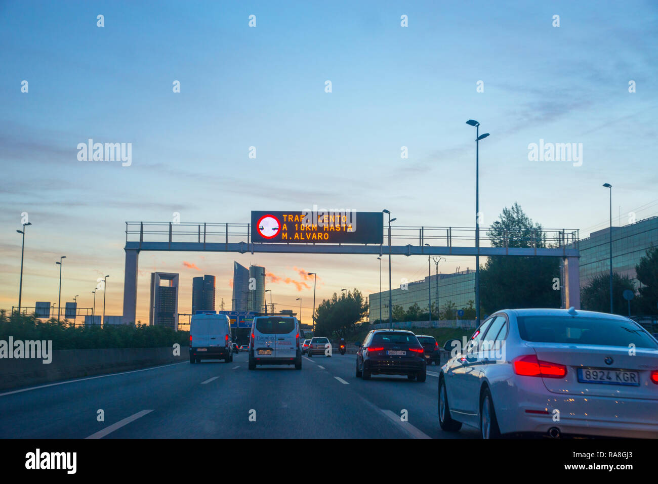A-1 freeway at dusk. Madrid, Spain. Stock Photo