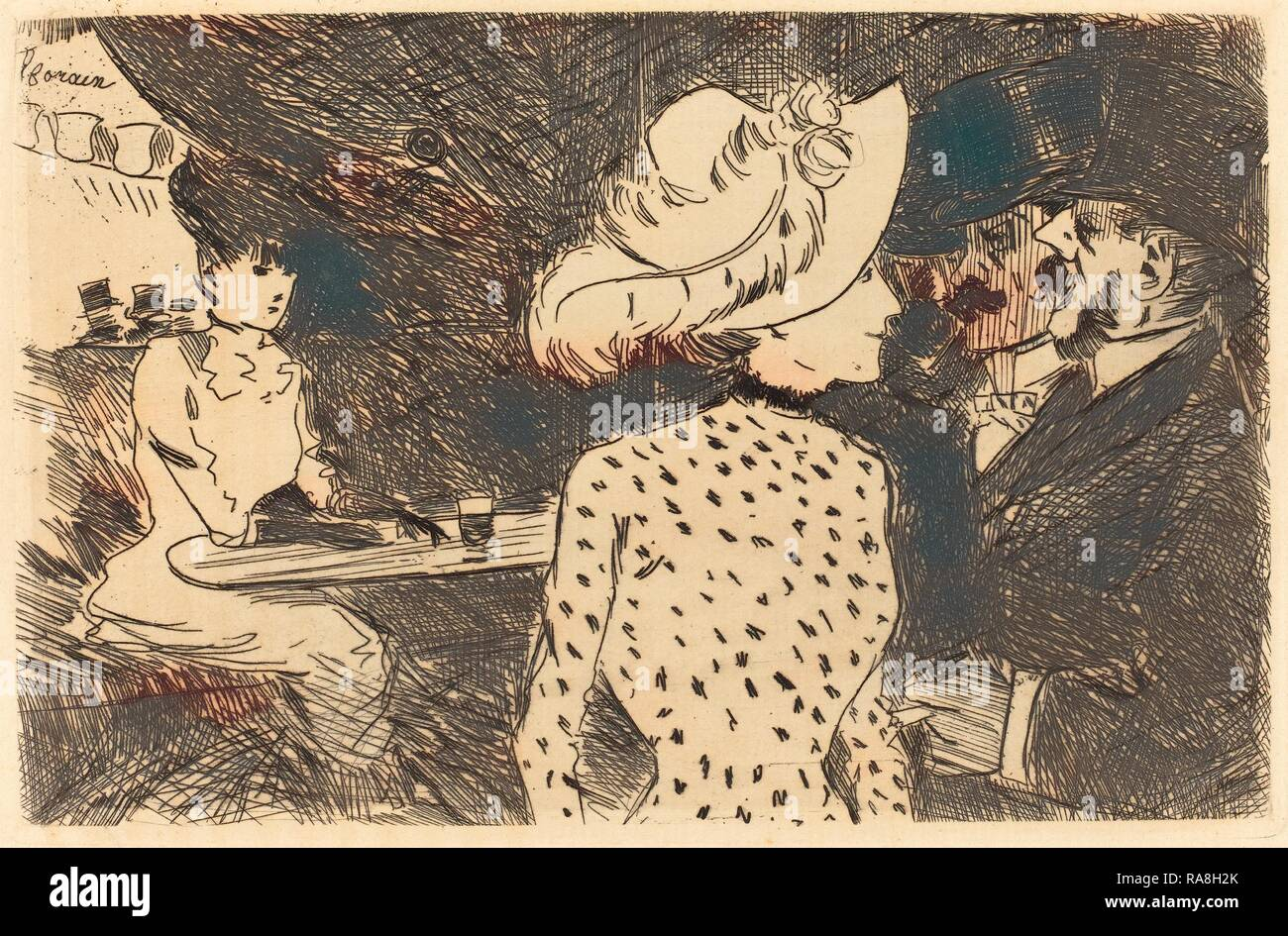 Jean-Louis Forain (French, 1852 - 1931), The Folies Bergere (refused plate, second plate), 1880 and 1886, etching reimagined - Stock Image