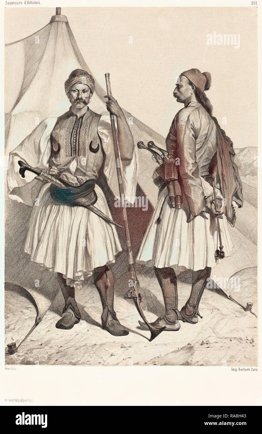 Alexandre Bida (French, 1823 - 1895), Arnautes, Égypte (Albanians, Egypt), lithograph on chine collé. Reimagined - Stock Image