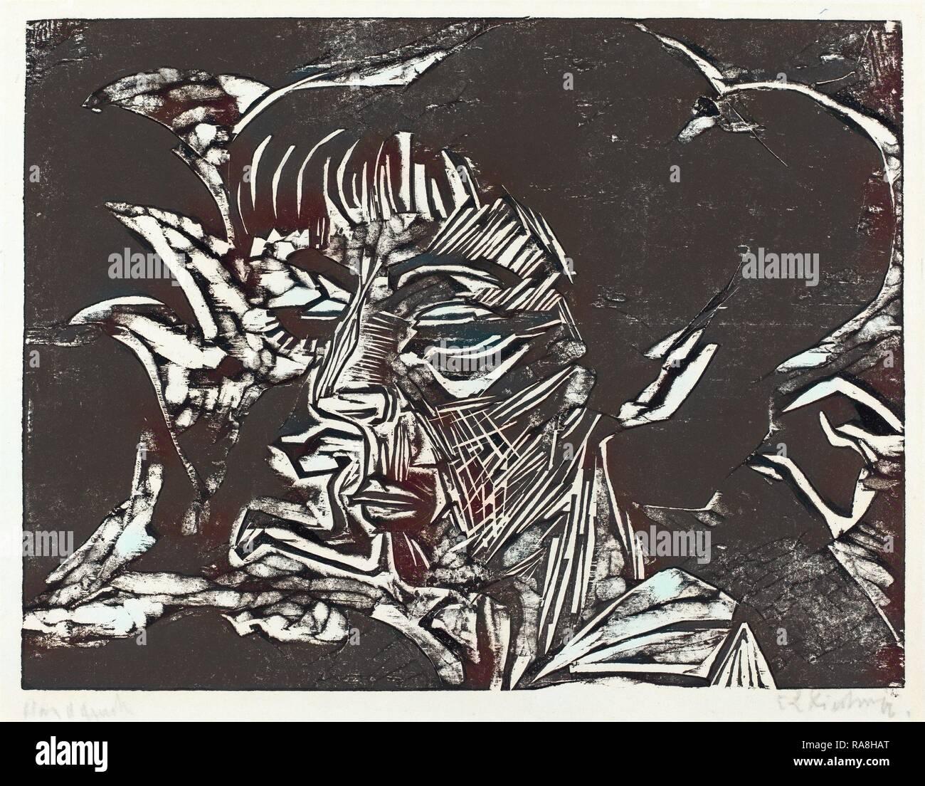 Ernst Ludwig Kirchner, Fanny Wocke, German, 1880 - 1938, 1916, woodcut in black on blotting paper. Reimagined - Stock Image