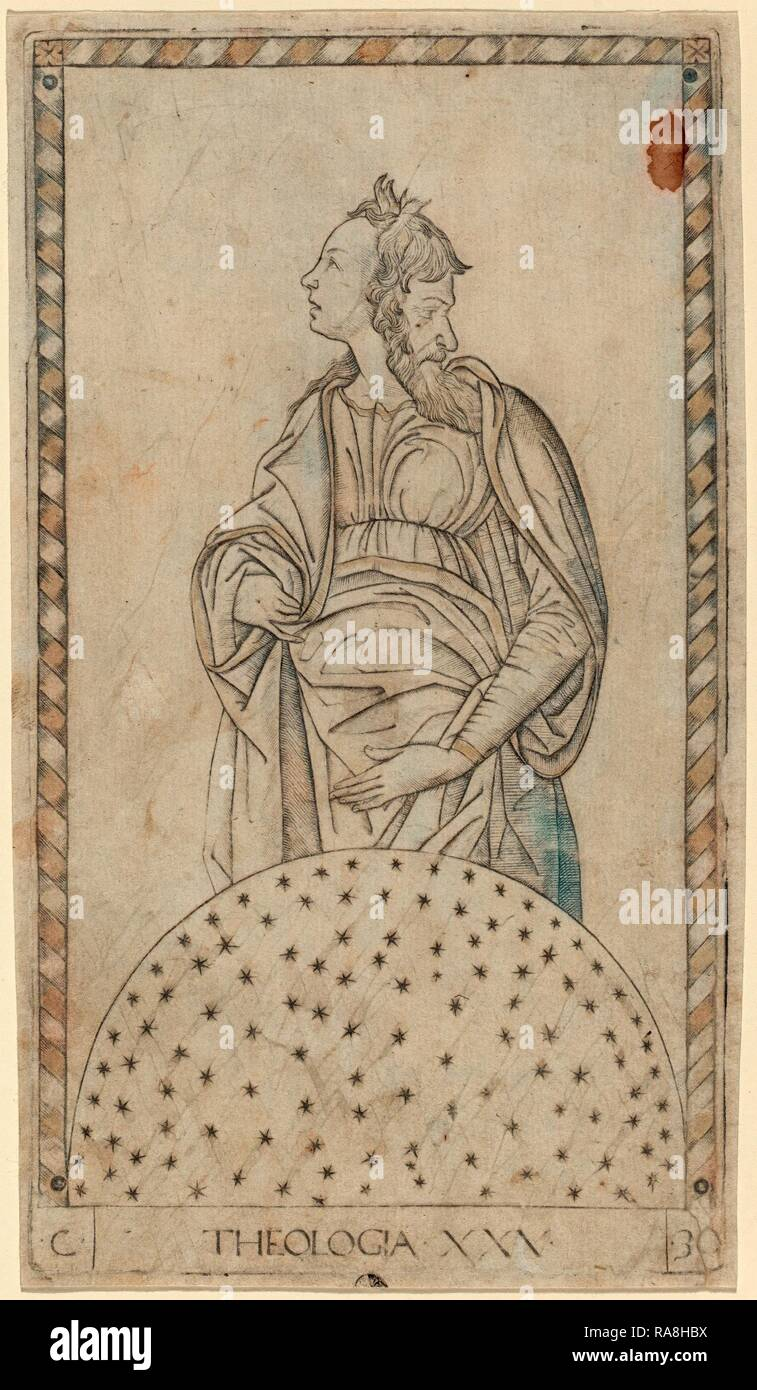 Master of the E-Series Tarocchi (Italian, active c. 1465), Theologia (Theology), c. 1465, engraving. Reimagined - Stock Image