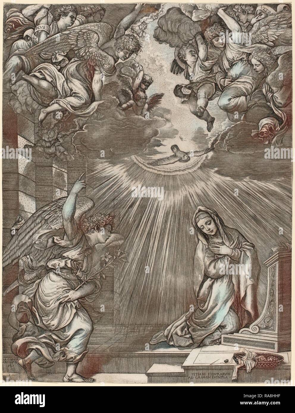 Gian Jacopo Caraglio after Titian (Italian, c. 1500 - 1565), The Annunciation, engraving. Reimagined - Stock Image