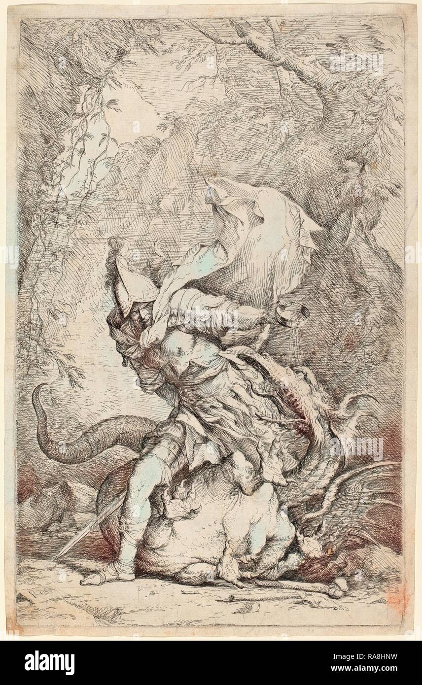Salvator Rosa (Italian, 1615 - 1673), Jason and the Dragon, c. 1663-1664, etching and drypoint. Reimagined Stock Photo