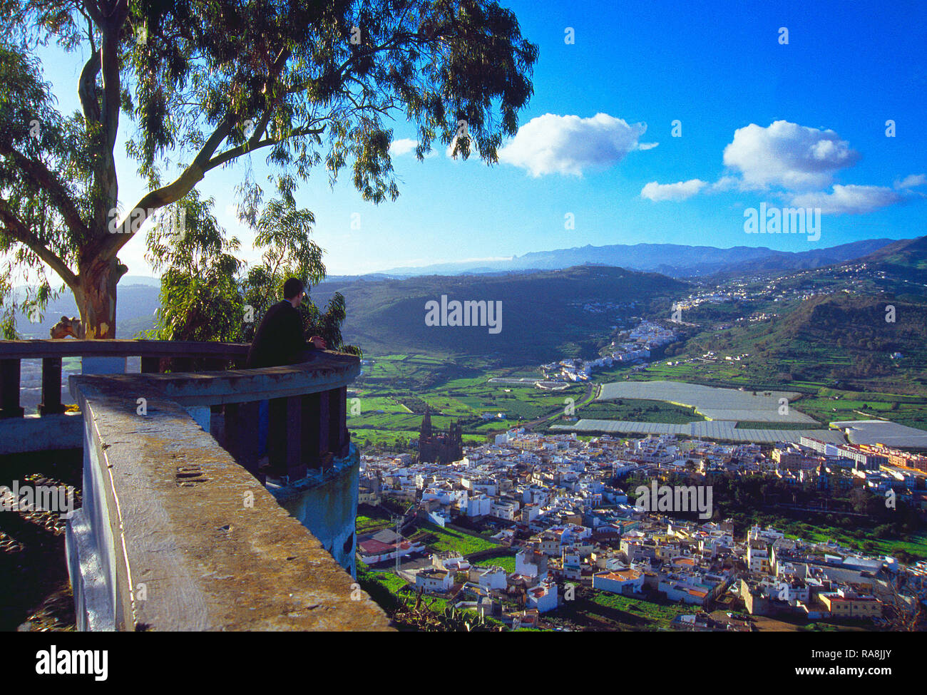 Viewpoint over the town. Arucas, Gran Canaria island, Canary Islands, Spain. - Stock Image
