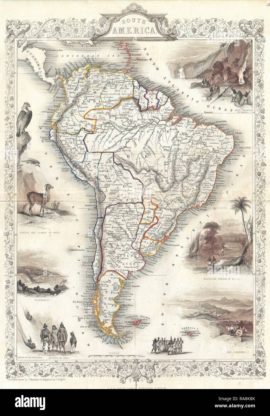 1850, Tallis Map of South America. Reimagined by Gibon. Classic art with a modern twist reimagined - Stock Image