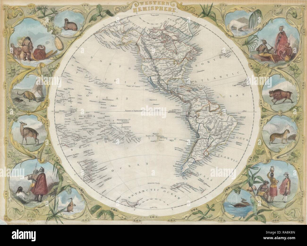 1850, Tallis Map of the Western Hemisphere. Reimagined by Gibon. Classic art with a modern twist reimagined - Stock Image