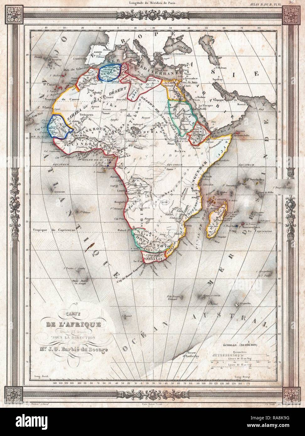 1852, Bocage Map of Africa. Reimagined by Gibon. Classic art with a modern twist reimagined - Stock Image
