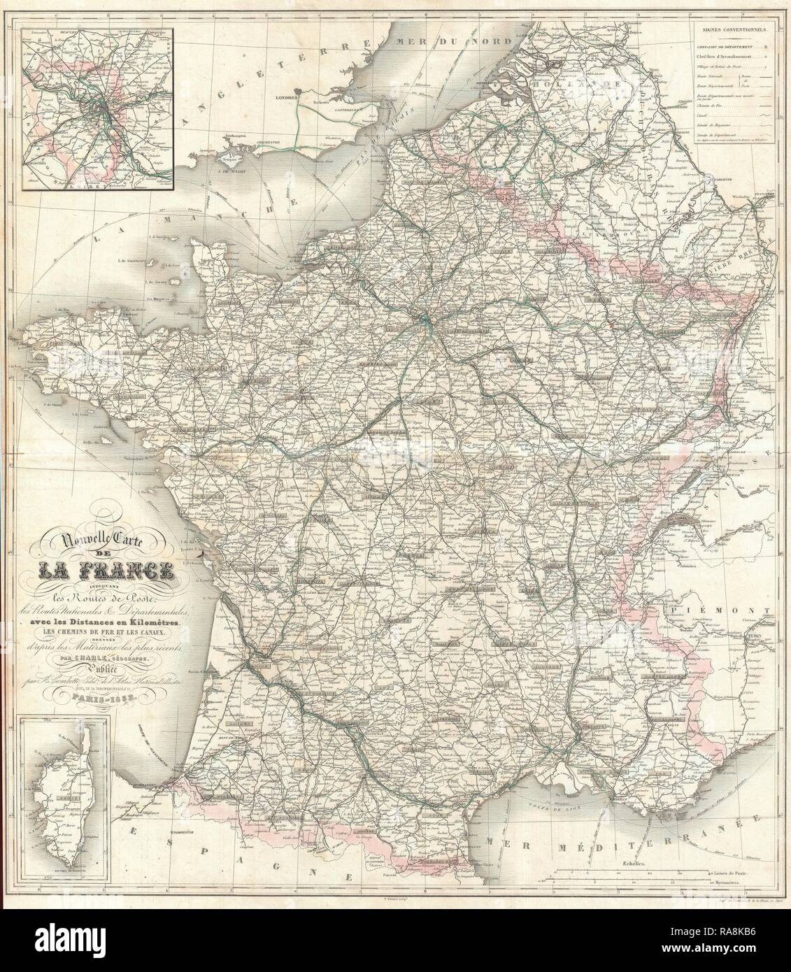 1852, Levasseur Map of France. Reimagined by Gibon. Classic art with a modern twist reimagined - Stock Image
