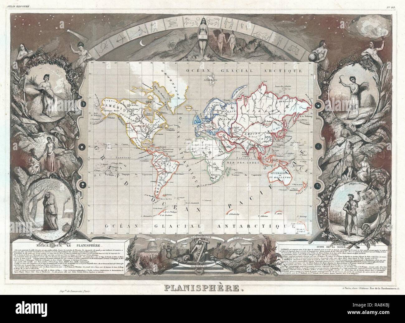 1852, Levasseur Map of the World. Reimagined by Gibon. Classic art with a modern twist reimagined - Stock Image