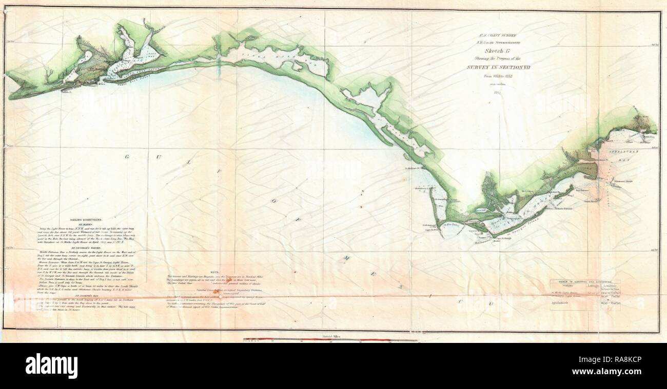 Map Of Panhandle Florida.1852 U S Coast Survey Map Of The Florida Panhandle Reimagined By