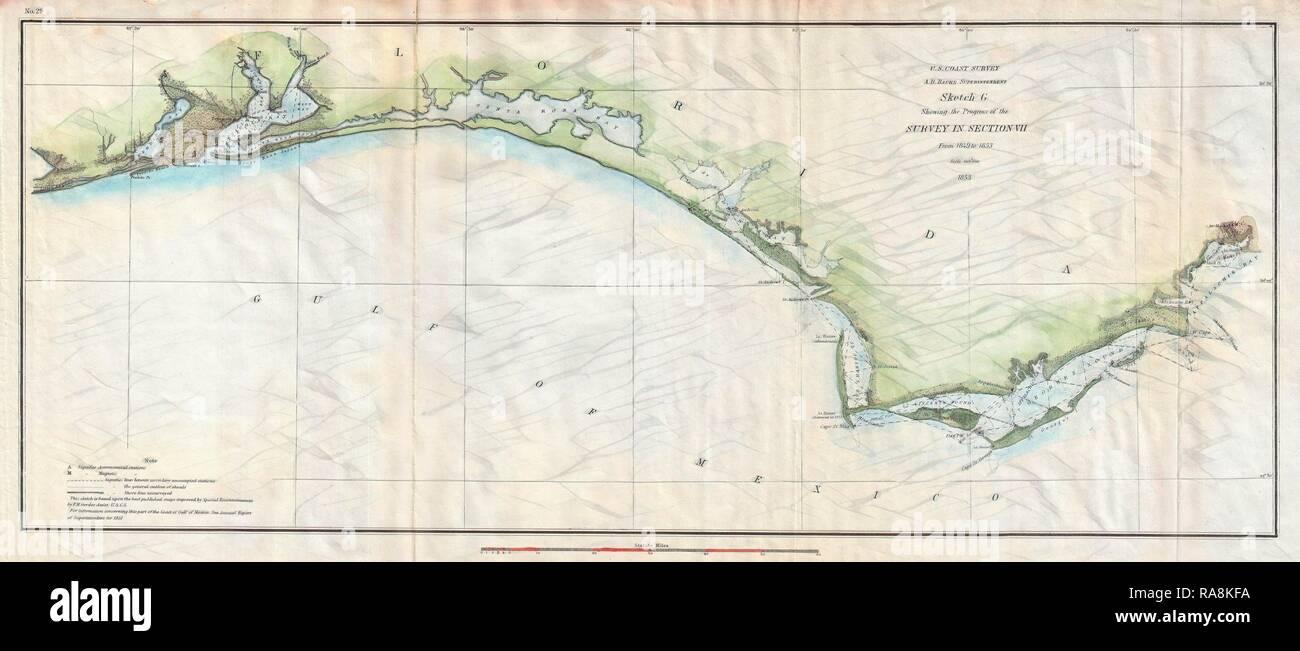 Panhandle Of Florida Map.U S Coast Survey Map Of The Western Florida Panhandle Stock Photos
