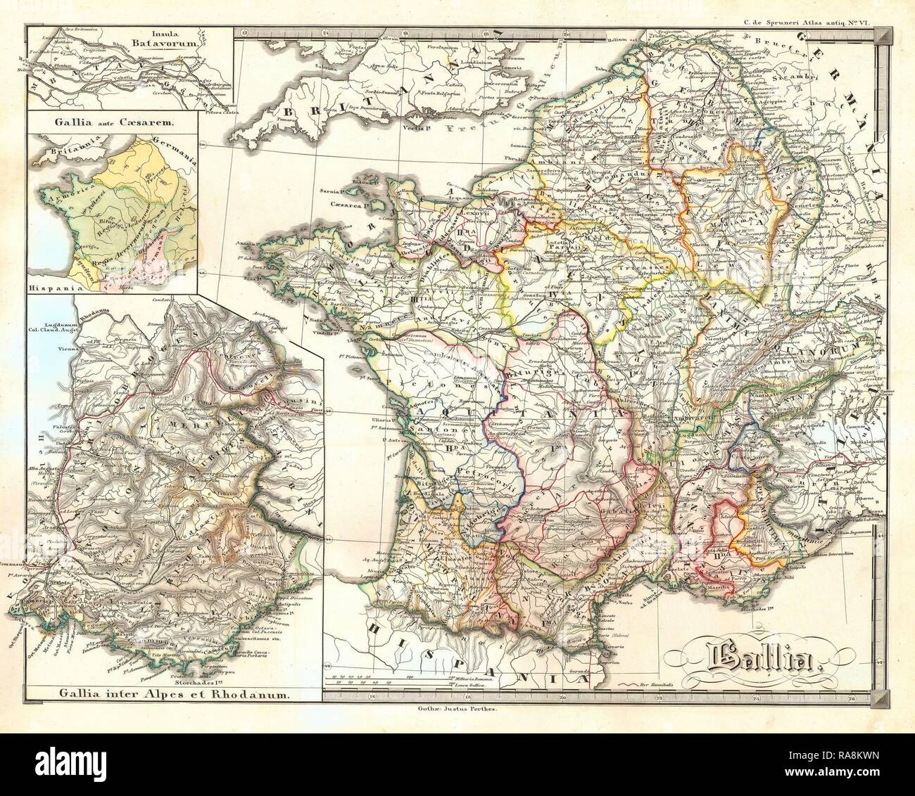 1855, Spruneri Map of France, Gaul, Gallia in Ancient Times. Reimagined by Gibon. Classic art with a modern twist reimagined - Stock Image